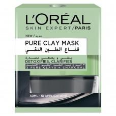L'Oreal Paris Pure Clay Mask - Charcoal, Detoxifies and Clarifies, 50ml  3600523306169