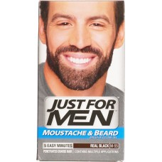 just for men - mustach & beard - brush color gel, Black 55M, 28.4g